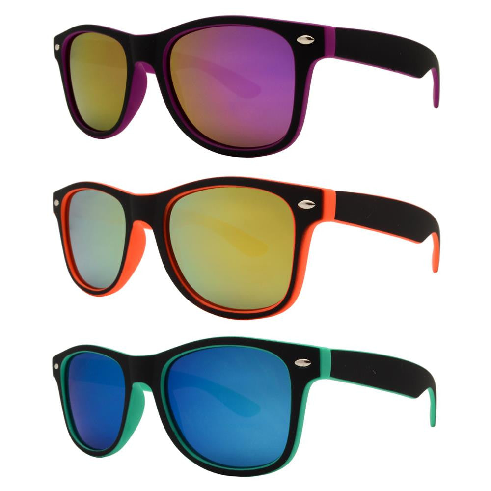 4567-8 - Kids Classic Horn Rimmed Inner Color Sunglasses with Color Mirror Lens