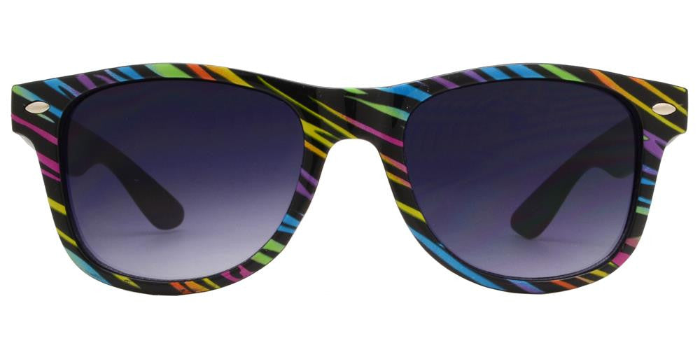 4567-9 - Kids Classic Horn Rimmed Printed Colorful Stripes Sunglasses