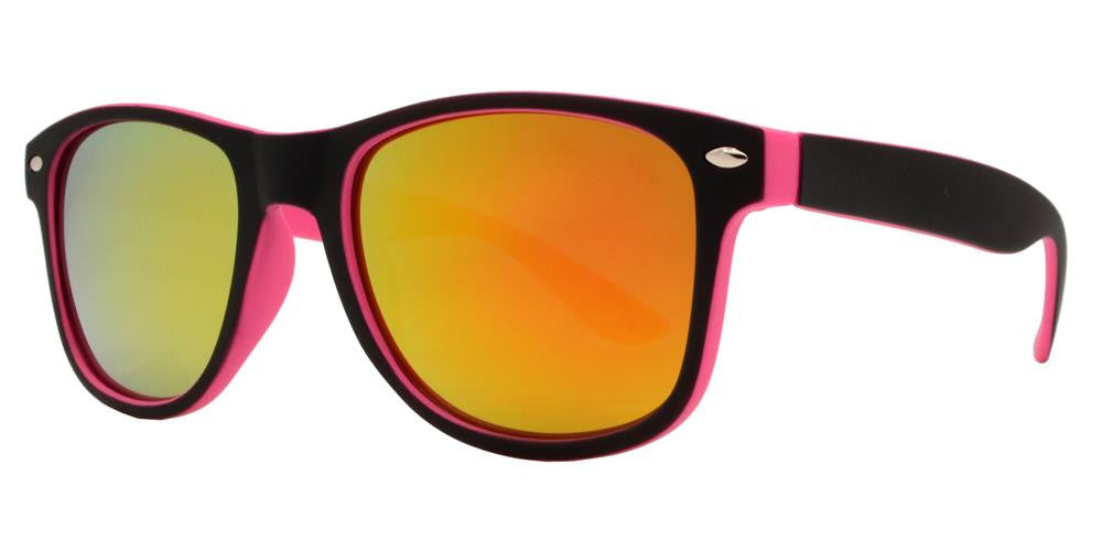 4570 RVC SFT - Kids Classic Soft Rubber Horn Rimmed Inner Color Sunglasses with Color Mirror Lens