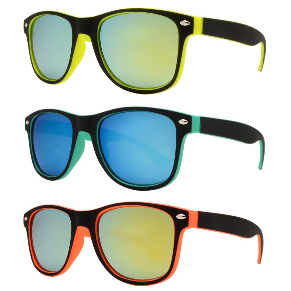 Wholesale - 4570 RVC SFT - Kids Classic Soft Rubber Horn Rimmed Inner Color Sunglasses with Color Mirror Lens - Dynasol Eyewear