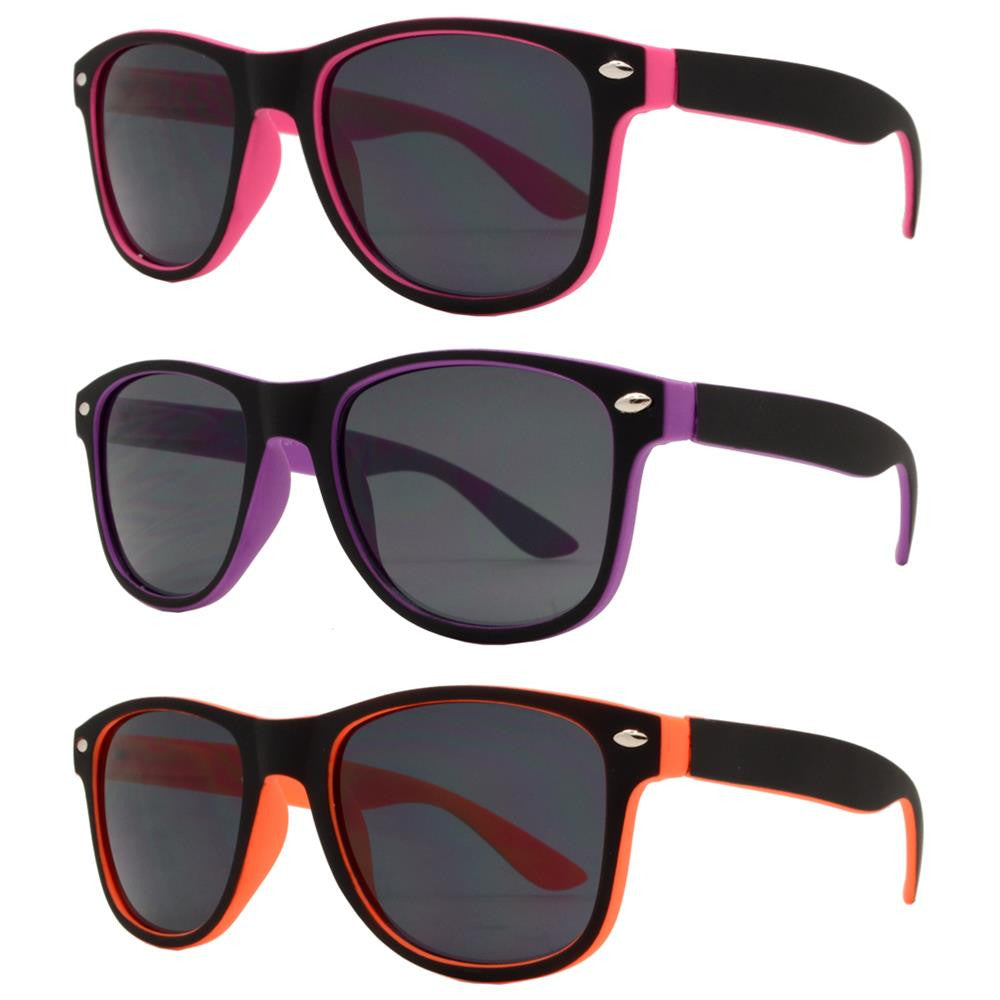 Wholesale - 4571 SFT - Kids Classic Soft Rubber Horn Rimmed Inner Color Sunglasses - Dynasol Eyewear