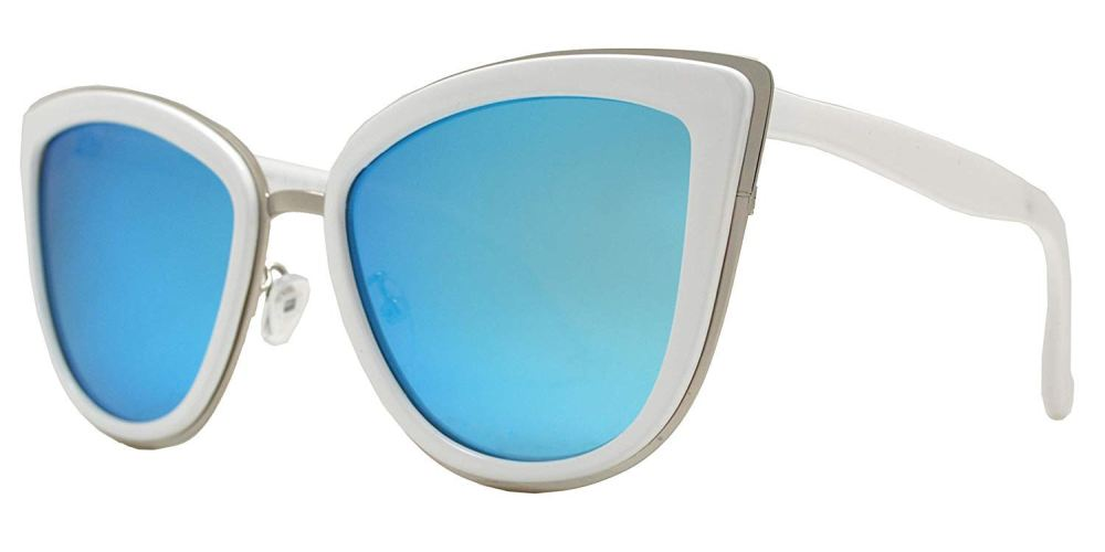 PL 8523 White Blue RV - Polarized Cat Eye White Sunglasses with Blue Mirror Lens