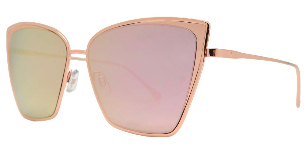 FC 6365 Pink RVC - Square Cat Eye Sunglasses with Pink Mirror Lens