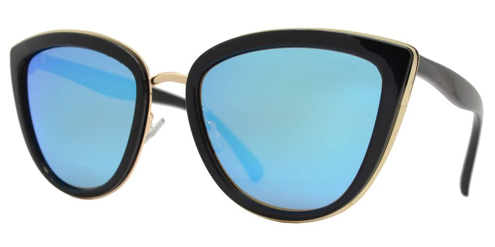 PL 8523 Black Blue RV - Polarized Cat Eye Black Sunglasses with Blue Mirror Lens