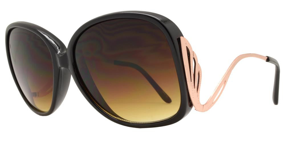 Dynasol Eyewear - Wholesale Sunglasses - 6200 - Women's Butterfly Sunglasses with Curved Metal Temple - sunglasses