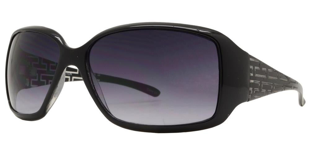 Wholesale - 6334 - Women's Rectangular Sunglasses with Fashion Detailed Temple - Dynasol Eyewear