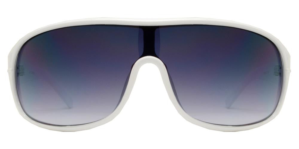 Dynasol Eyewear - Wholesale Sunglasses - 6371 White - Retro Aviator Wrap Around White Plastic Sunglasses - sunglasses