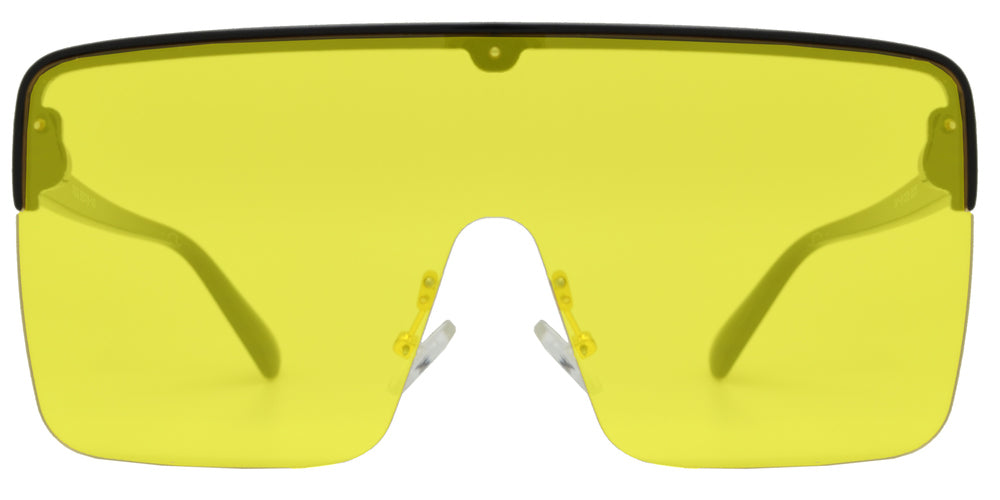 Wholesale - 7002 - Plastic Flat Top One Piece Semi-Rimless Oversize Sunglasses - Dynasol Eyewear