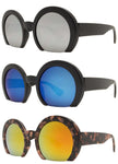 7006 RVC - Semi-Rimless Round Color Mirror Lens Fashion Sunglasses
