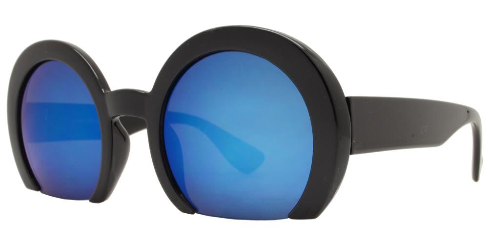 Wholesale - 7006 RVC - Semi-Rimless Round Color Mirror Lens Fashion Sunglasses - Dynasol Eyewear