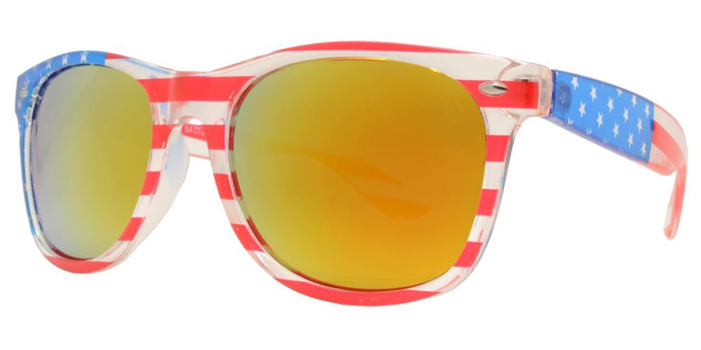 Wholesale - 7110 Flag - Classic Horn Rimmed Clear USA Flag Frame Plastic Sunglasses - Dynasol Eyewear