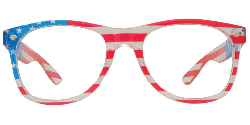 Wholesale - 7110 Flag Clear - Classic Horn Rimmed Clear USA Flag Clear Lens Plastic Sunglasses - Dynasol Eyewear