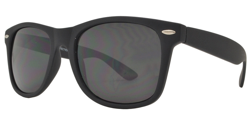 Wholesale - 7116 Black SFT SD - Classic Horn Rimmed Super Dark Lens Soft Rubber Finish Plastic Sunglasses - Dynasol Eyewear