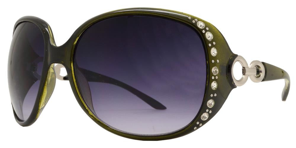 Dynasol Eyewear - Wholesale Sunglasses - 7304 BX - Womens Fashion Sunglasses with Rhinestones and Chain Temple - sunglasses
