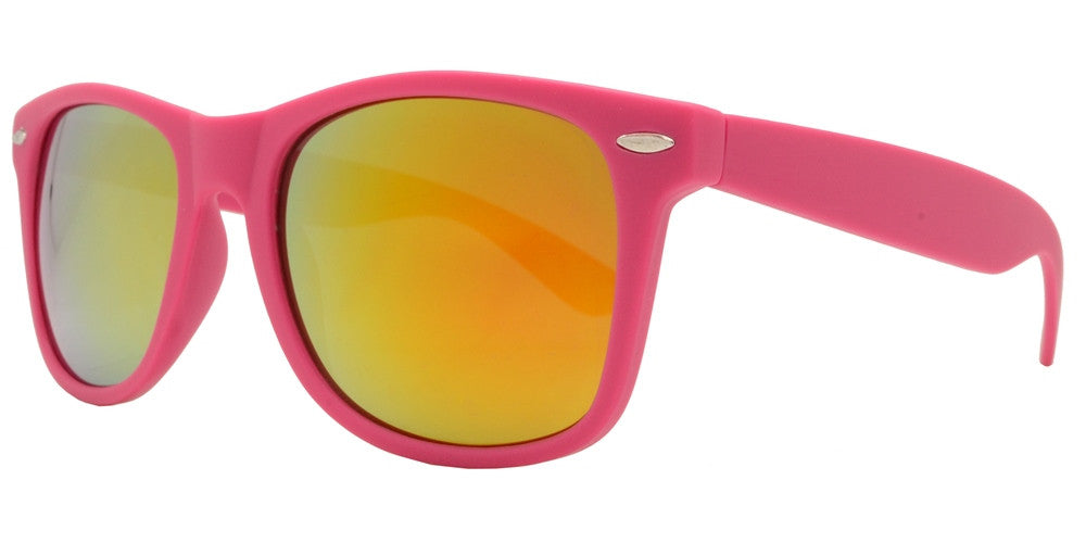 Wholesale - 7327 RVC SFT - Classic Horn Rimmed Soft Rubber Plastic Sunglasses with Color Mirror Lens - Dynasol Eyewear