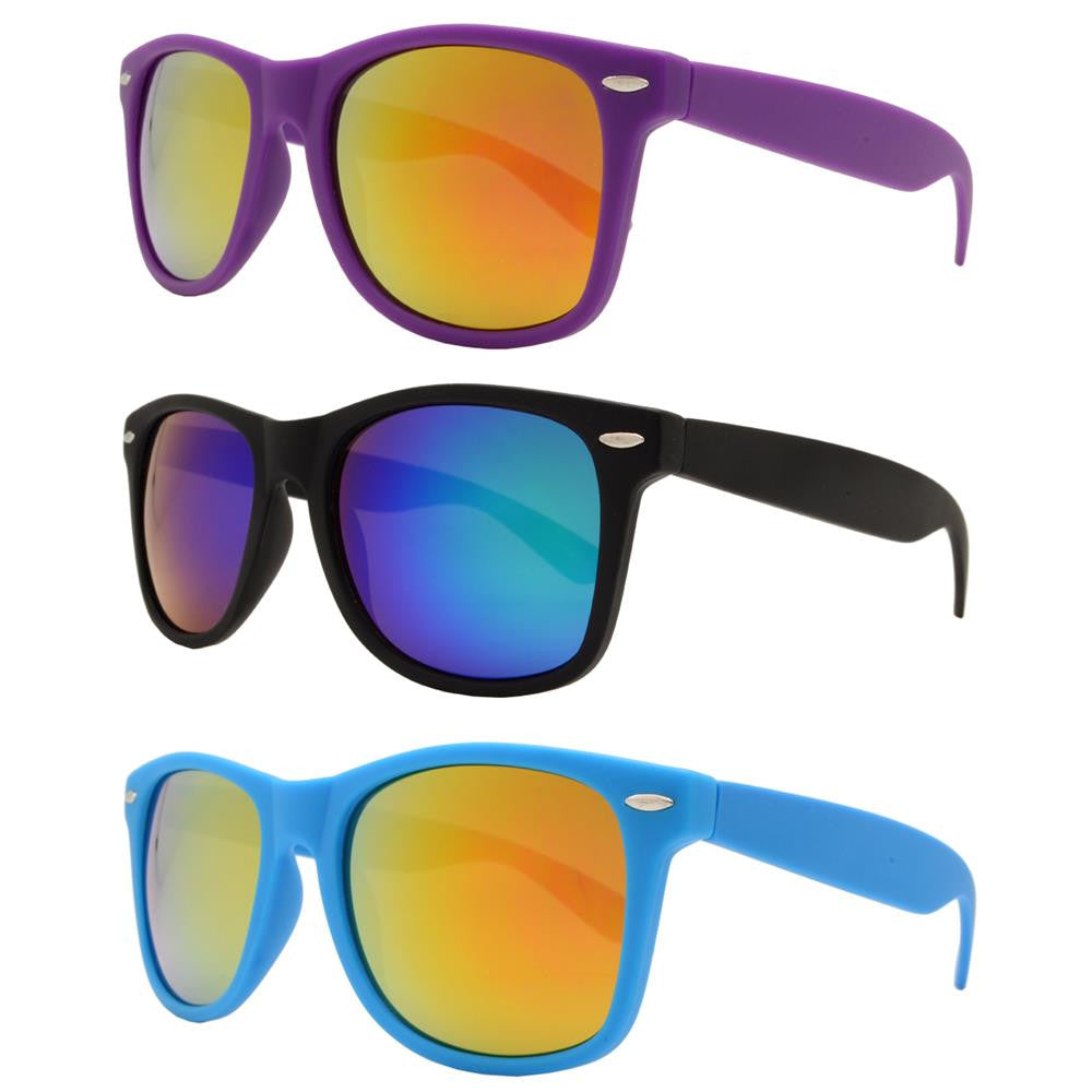 Dynasol Eyewear - Wholesale Sunglasses - 7327 RVC SFT - Classic Horn Rimmed Soft Rubber Plastic Sunglasses with Color Mirror Lens - sunglasses
