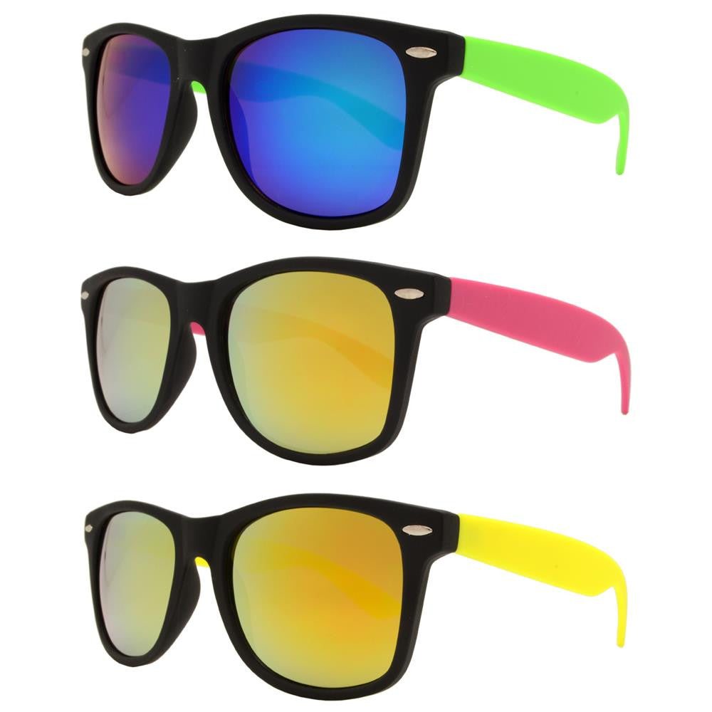 Dynasol Eyewear - Wholesale Sunglasses - 7330 RVC SFT - Classic Horn Rimmed Soft Rubber Plastic  Sunglasses with Color Mirror Lens - sunglasses