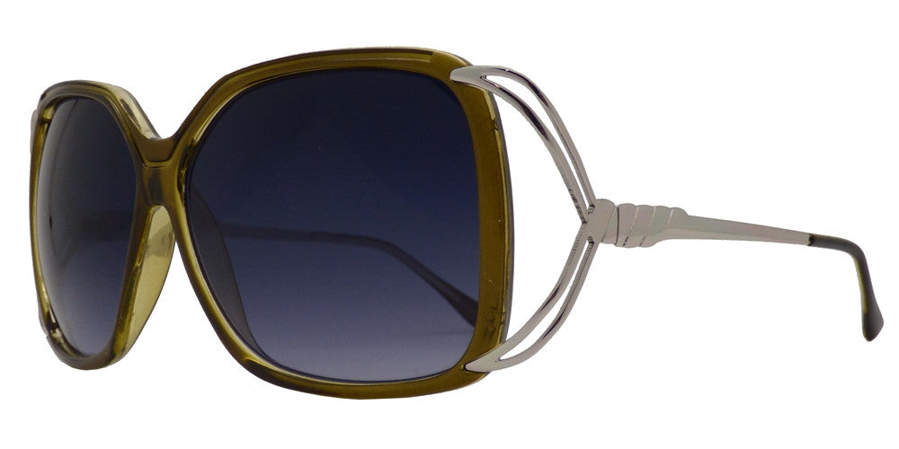 Wholesale - 7334 - Women's Fashion Square Sunglasses with Metal Wire Accent Temple - Dynasol Eyewear