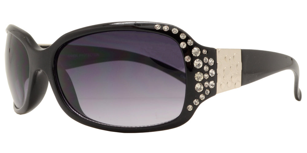 7372 BX - Small Rectangular Sunglasses with Rhinestones - Dynasol Wholesale Sunglasses