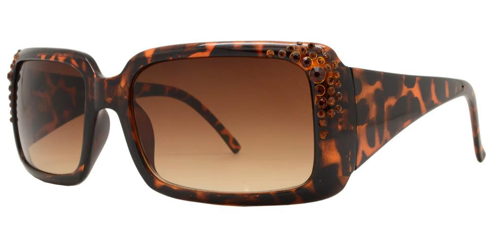 Wholesale - 7374 - Chunky Square Women's Sunglasses with Rhinestones - Dynasol Eyewear