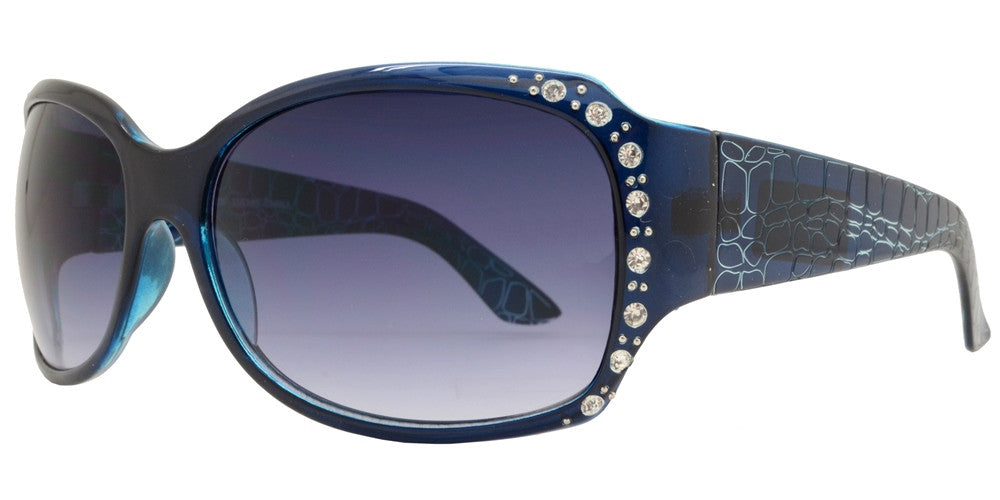 Wholesale - 7404 BX - Women's Chunky Square Sunglasses with Design Temple and Rhinestones - Dynasol Eyewear