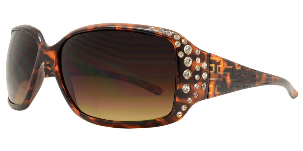 Dynasol Eyewear - Wholesale Sunglasses - 7420 - Rectangular Sunglasses with Rhinestones and Line Design Temple - sunglasses