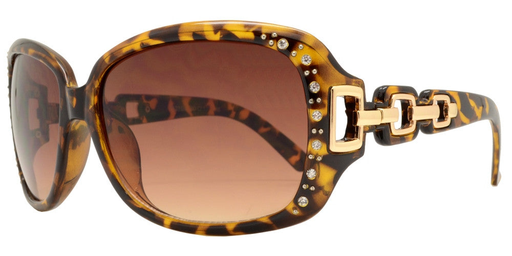 Wholesale - 7521 BX - Square Clear Color Frame Sunglasses with Rhinestone and Chain Detail Temple - Dynasol Eyewear