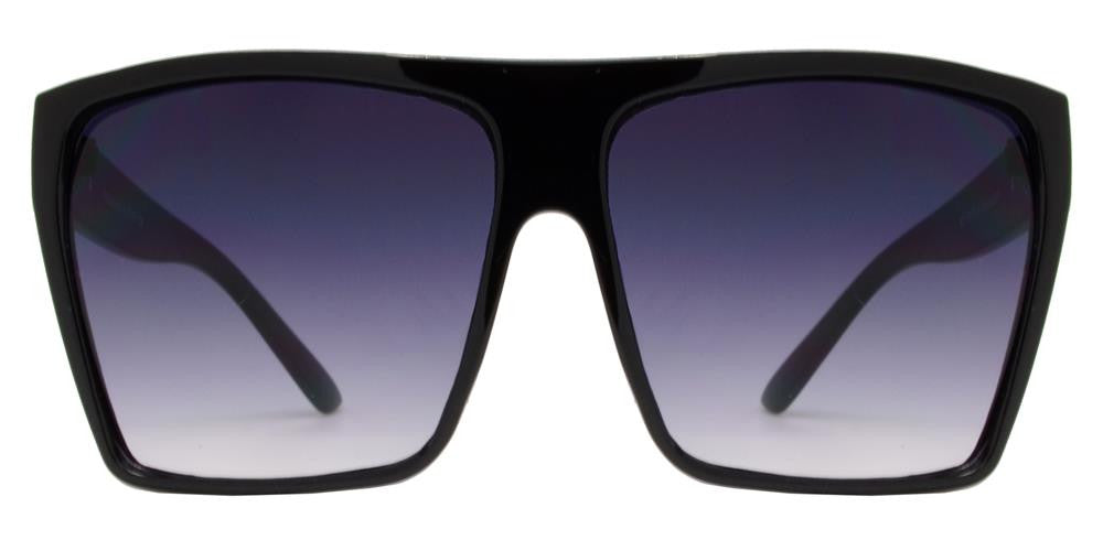 Wholesale - 7555 Black - Womens Oversize Flat Top Black Square Retro Sunglasses - Dynasol Eyewear