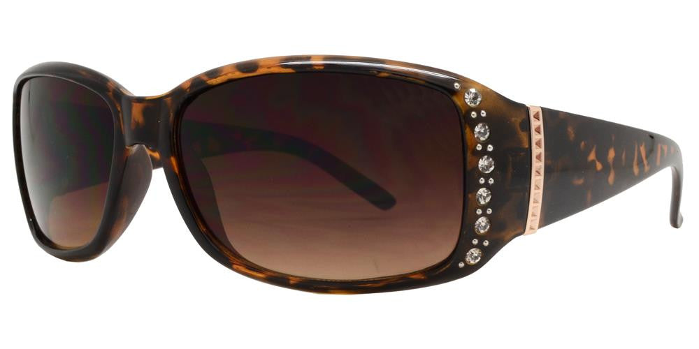 Dynasol Eyewear - Wholesale Sunglasses - 7572 AX - Women's Rectangular Sunglasses with Rhinestones and Metal Accent - sunglasses