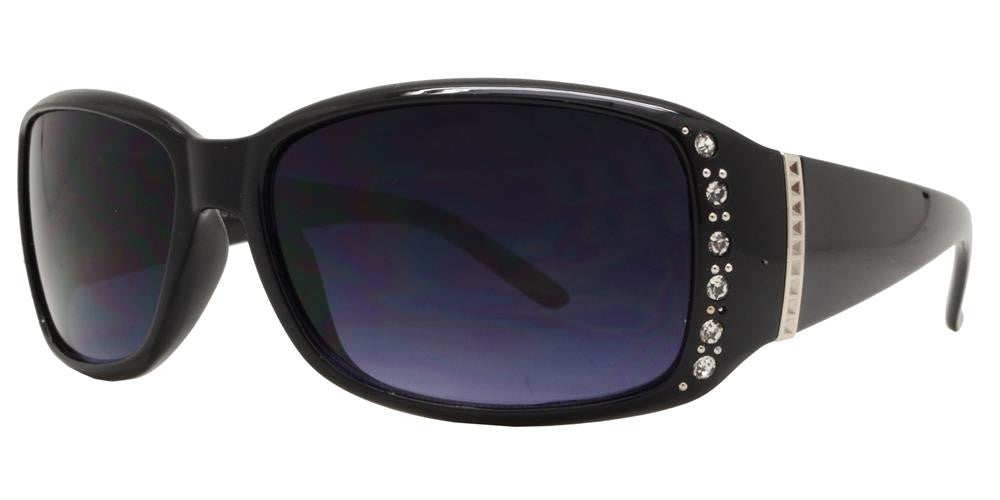 Wholesale - 7572 AX - Women's Rectangular Sunglasses with Rhinestones and Metal Accent - Dynasol Eyewear