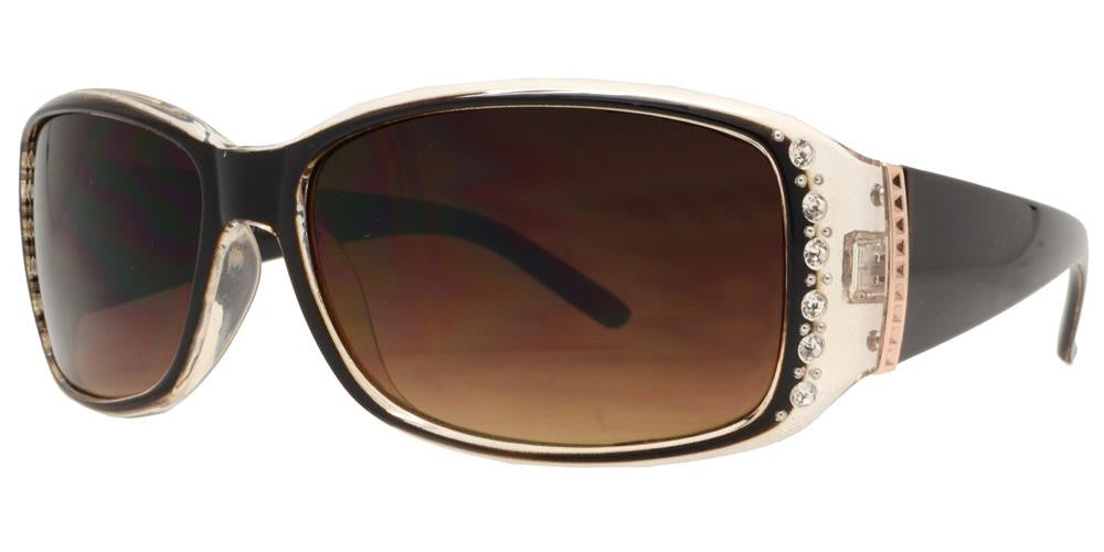 Dynasol Eyewear - Wholesale Sunglasses - 7572 BX - Womens Clear Color Rectangular Sunglasses with Rhinestones and Metal Accent - sunglasses