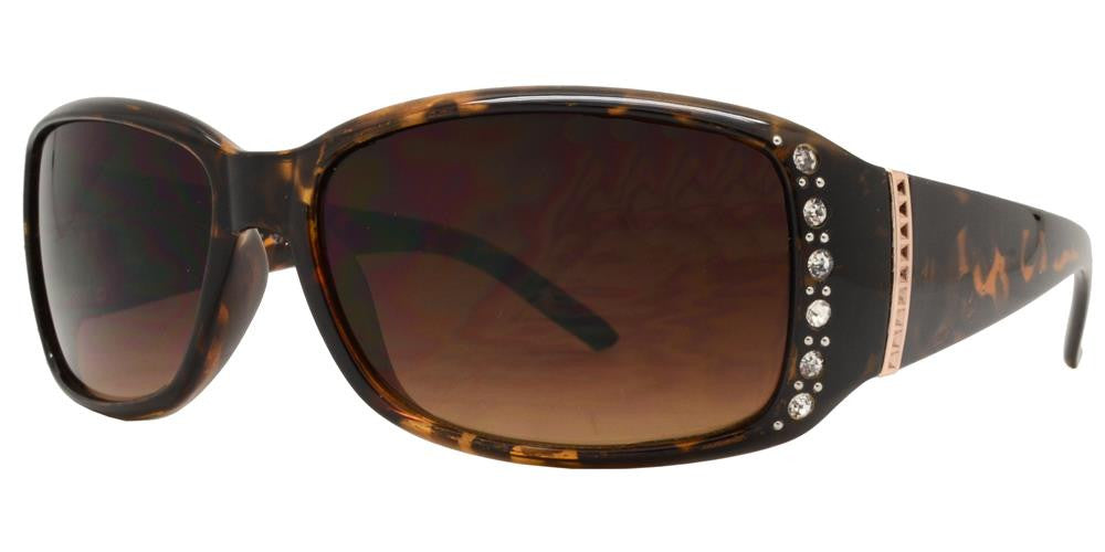 Wholesale - 7572 BX - Womens Clear Color Rectangular Sunglasses with Rhinestones and Metal Accent - Dynasol Eyewear