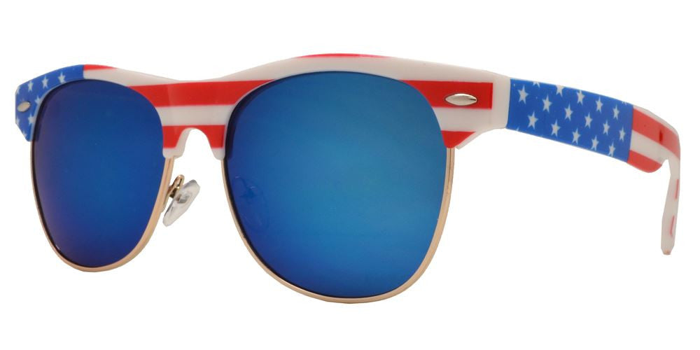 Wholesale - 7581 Flag - Retro Horn Rimmed Sunglasses with USA Flag - Dynasol Eyewear