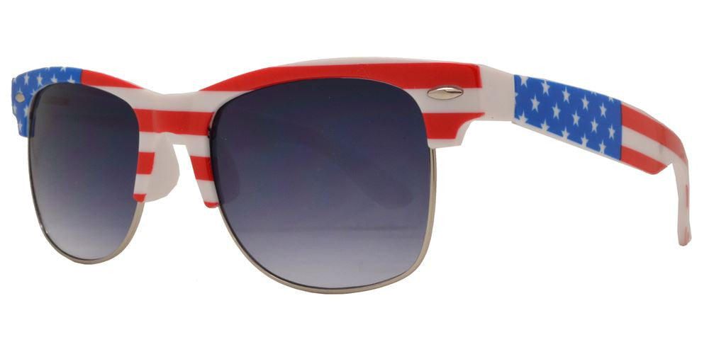 Wholesale - 7583 Flag - Retro Horn Rimmed with USA Flag Frame Plastic Sunglasses - Dynasol Eyewear