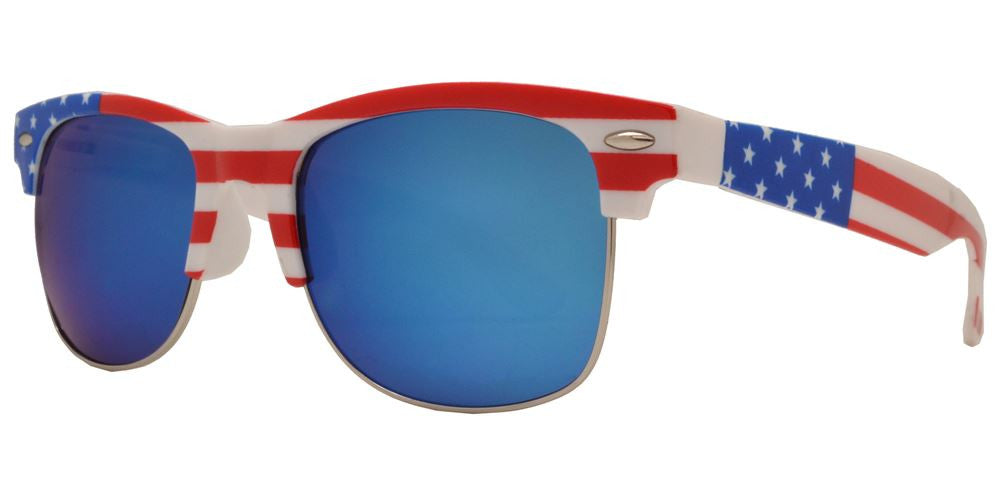 Dynasol Eyewear - Wholesale Sunglasses - Retro Horn Rimmed with USA Flag Frame Plastic Sunglasses - sunglasses