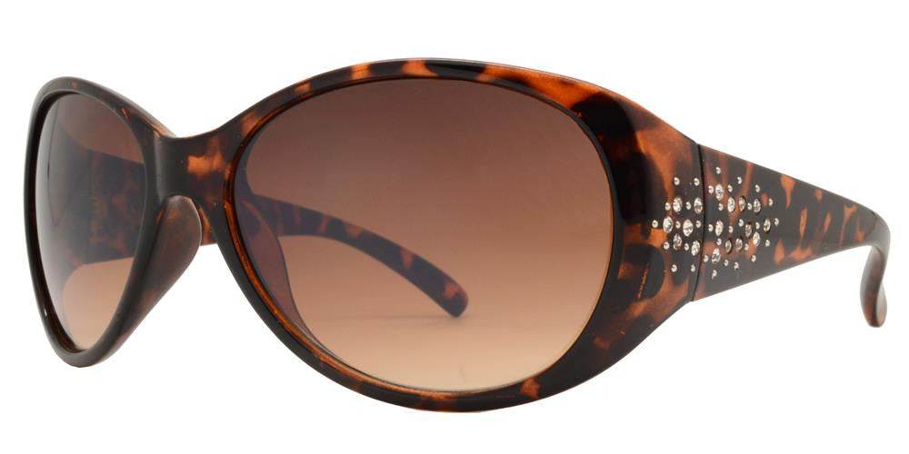 Wholesale - 7594 BX - Women's Oval Sunglasses with Rhinestones on Temple - Dynasol Eyewear