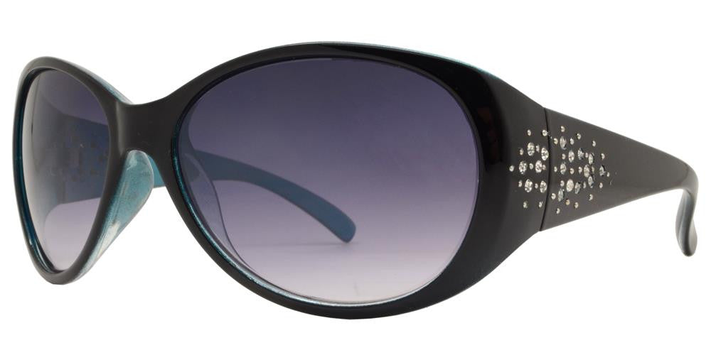 Dynasol Eyewear - Wholesale Sunglasses - 7594 BX - Women's Oval Sunglasses with Rhinestones on Temple - sunglasses