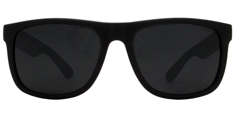 Wholesale - 7619 Black SFT - Classic Soft Rubber Sports Black Sunglasses with Smoke Lens - Dynasol Eyewear