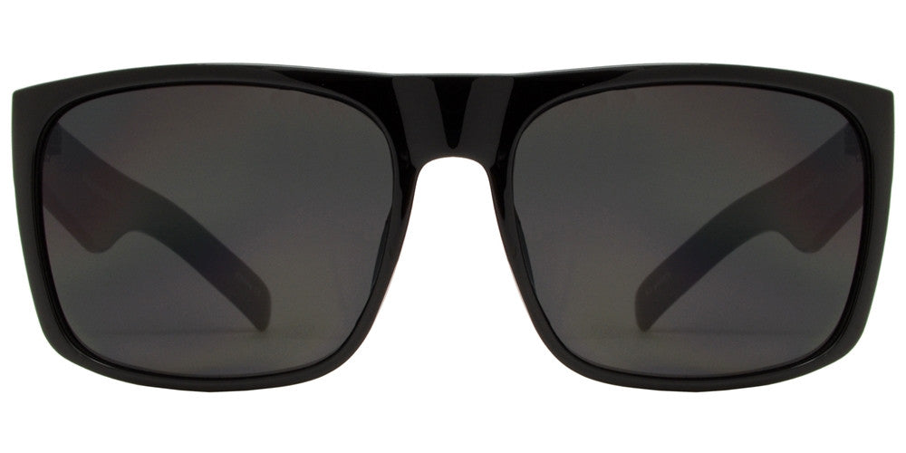 Wholesale - 7633 Black SD - Classic Square Sports Sunglasses with Super Dark Lens - Dynasol Eyewear