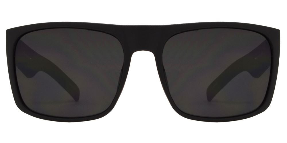 Dynasol Eyewear - Wholesale Sunglasses - 7633 Black SD SFT - Soft Rubber Classic Square Sports Black Sunglasses - sunglasses