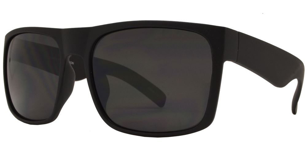 Wholesale - 7633 Black SD SFT - Soft Rubber Classic Square Sports Black Sunglasses - Dynasol Eyewear