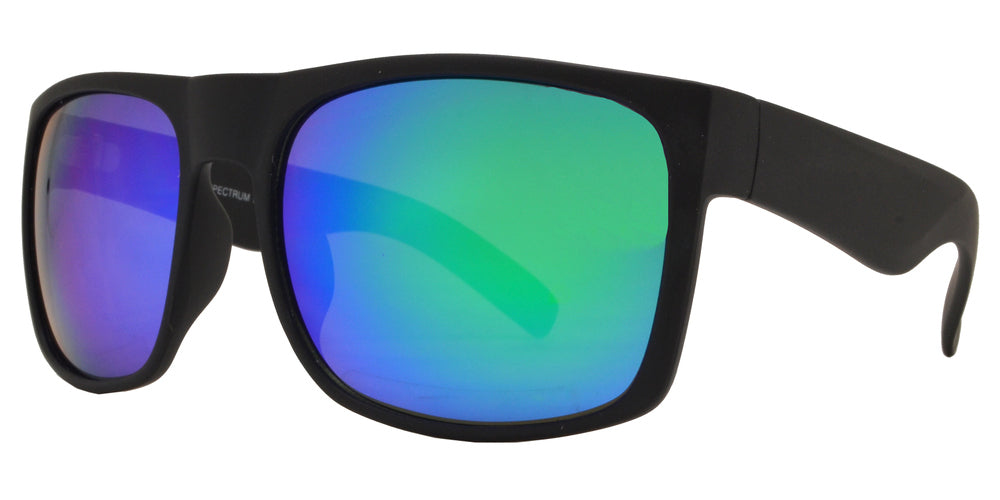 Dynasol Eyewear - Wholesale Sunglasses - 7633 Spectrum - Classic Square Sports Sunglasses with Color Mirror Lens - sunglasses