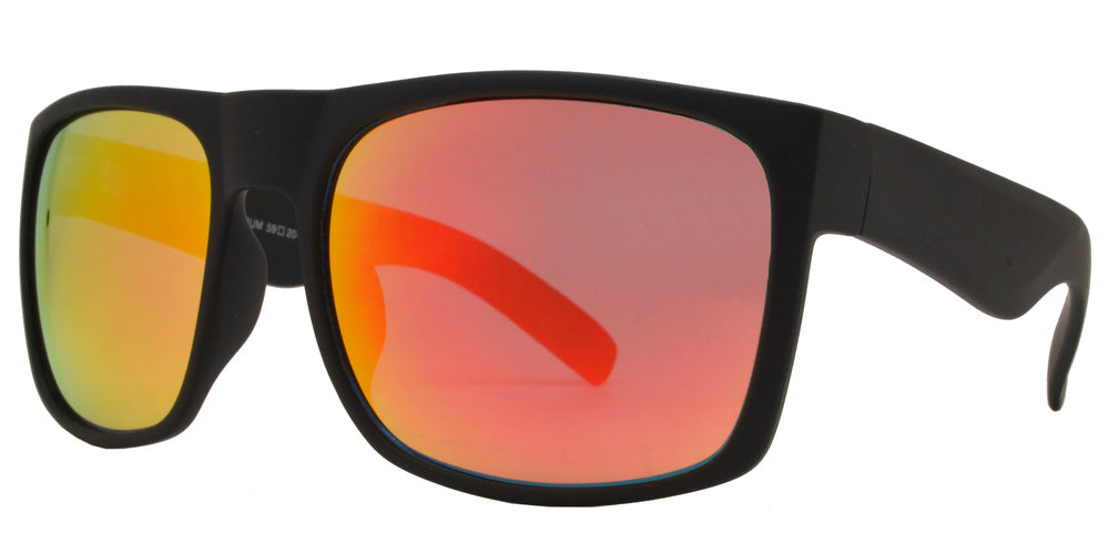 7633 Spectrum - Classic Square Sports Sunglasses with Color Mirror Lens