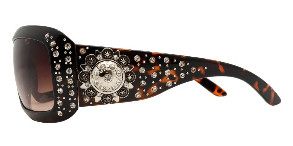 Wholesale - 7649 - Rectangular Chunky Sunglasses with Rhinestones and Berry Concho - Dynasol Eyewear
