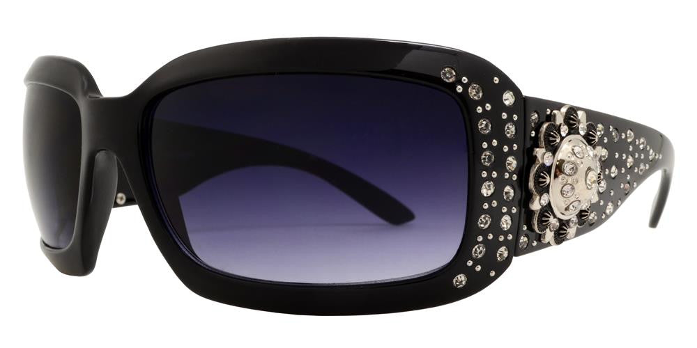 7649 - Rectangular Chunky Sunglasses with Rhinestones and Berry Concho - Dynasol Wholesale Sunglasses