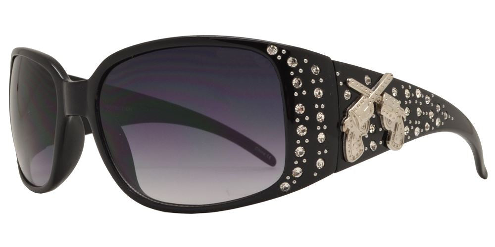 Wholesale - 7651 - Double Pistol Concho Oval Sunglasses with Rhinestones - Dynasol Eyewear
