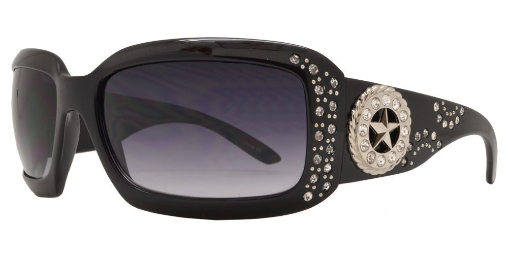 Wholesale - 7658 - Rectangular Chunky Sunglasses with Rhinestones and Star Concho - Dynasol Eyewear