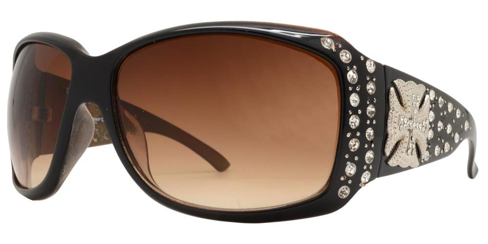 Dynasol Eyewear - Wholesale Sunglasses - 7659 Brown - Square Chunky Sunglasses with Rhinestones and Cross Concho - sunglasses