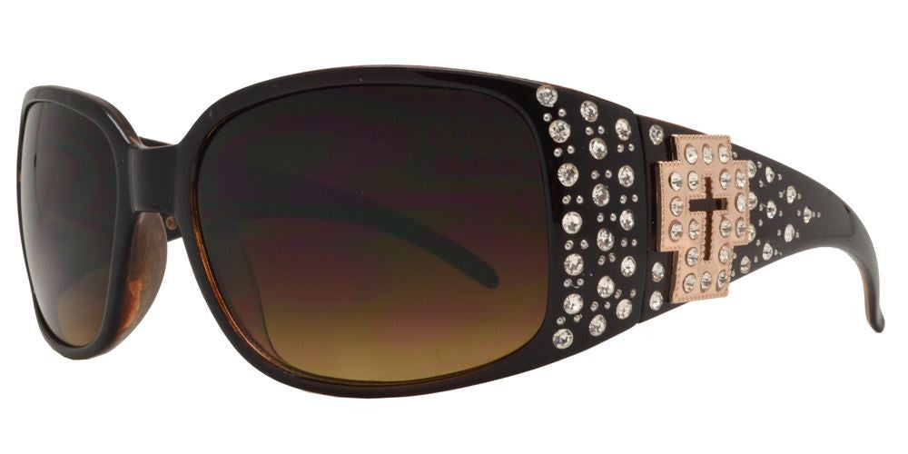 7660 - Rectangular Chunky Sunglasses with Cross Concho and Rhinestones - Dynasol Wholesale Sunglasses