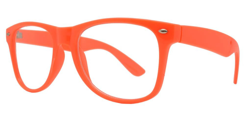 7710 Neon Orange Clear - Classic Neon Orange Horn Rimmed Sunglasses with Clear Lens - Dynasol Wholesale Sunglasses